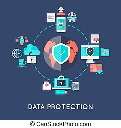 Data protection international system design with earth in center secure devices around on blue background vector illustration