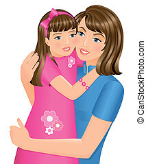 Happy daughter hugging her mother on Mother%u2019s Day. Isolated on white background.