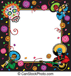Festive Mexican themed invitation with copy space