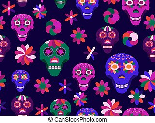 Day of the dead seamless pattern, skulls with flowers in a flat style. Mexican holiday. Vector illustration
