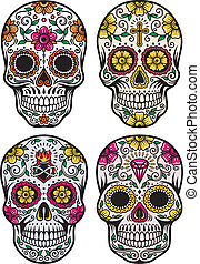 fully editable vector illustration of day of the dead skull set on isolated white background, image suitable for tattoo, design element, or t-shirt design