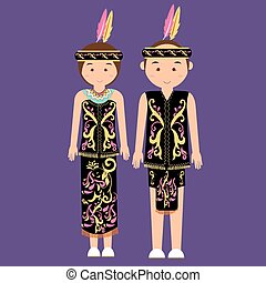 dayak kalimantan borneo indonesian traditional clothes woman dress vector cartoon costume asian