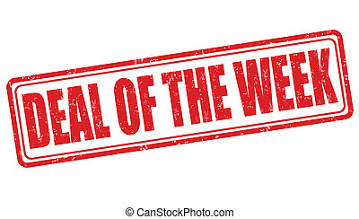 Deal of the week grunge rubber stamp on white, vector illustration