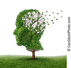 Dealing With Dementia and Alzheimer's disease with the medical icon of a tree in the shape of a human head and brain losing leaves as a symbol of challenges in intelligence and memory loss due to injury or old age.