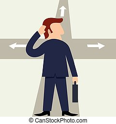 Simple cartoon of a man figure at the intersection