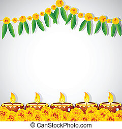illustration of burning decorated diya on colorful rangoli