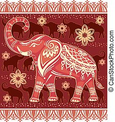 Decorated stylized elephant