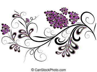 Decorative branch with lilac inflorescences isolated on white (vector)