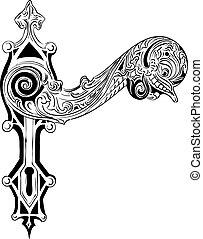 Decorative door handle on the white