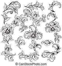 Decorative Floral Design Elements