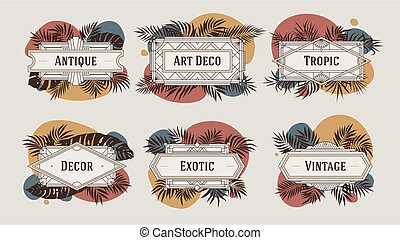 Decorative geometric borders and frames, with abstract shapes in terracotta color and tropical leaves, vintage art deco style, vector template