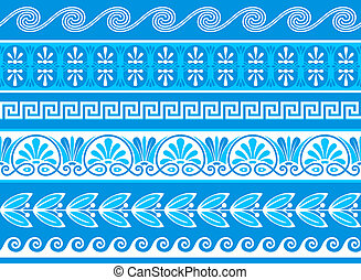 Decorative greek borders done as samples and vector brushes