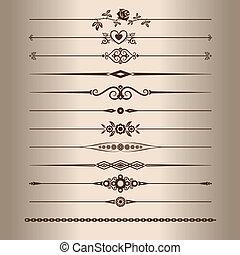 Elements for a vintage design - decorative line dividers. Vector illustration.