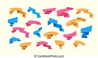 Decorative ribbon set. Vector illustration