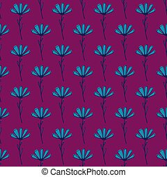 Decorative seamless pattern with hand drawn outline blue flowers print. Dark pink background.