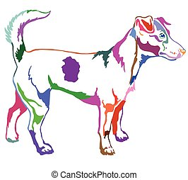 Decorative standing portrait of Dog Jack Russell terrier vector illustration in rainbow colors
