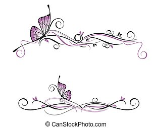 Vector floral ornament with butterfly
