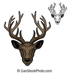 Deer animal head with antlers mascot