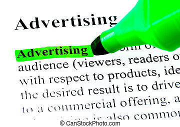 Definition of advertising highlighted by green felt tip pen