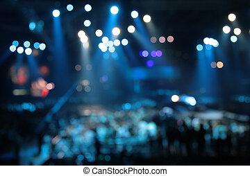 defocused abstract spotlights on concert