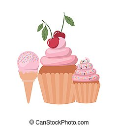 delicious cupcakes with cream on white background