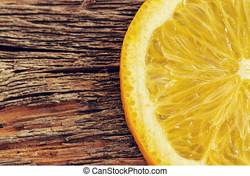 Delicious orange on the wooden table