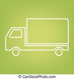 Delivery line icon on green background
