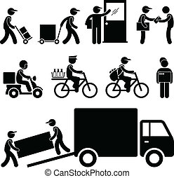A set of pictogram representing various type of delivery man and courier services.