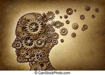 Dimentia brain problem medical and health care concept symbol on a grunge parchment texture as a vintage document with gears and cogs as icons of medicine and human intelligence.