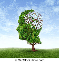 Dementia concept of memory loss due to Alzheimer's disease with the medical icon of a tree in the shape of a human head and brain with lost leaves as thoughts and mind function.