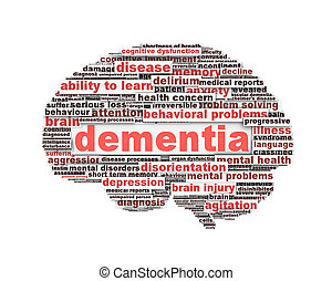 Dementia message design isolated on white background. Mental health symbol conceptual design
