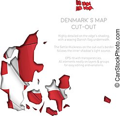 Denmark Map Cut-Out with Waving Flag