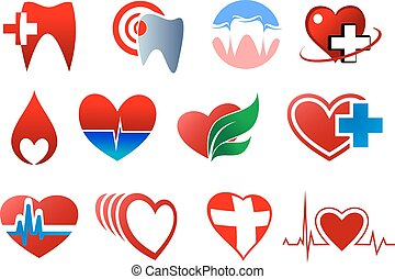 Dentistry, cardiology and blood donation symbols in heart shapes with cross, pulse, blood curves and teeth isolated on white background