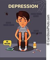 Depression boy. Vector flat cartoon