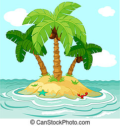 Illustration of palm trees on desert island