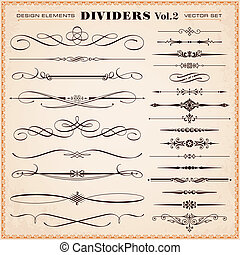 Set of vector calligraphic design elements and page decoration, dividers, dashes