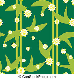 Design green floral seamless pattern with flowers