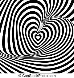 Design heart swirl rotation illusion background