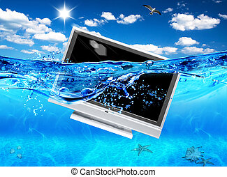 Design of TV in sea. Ecological electronics.