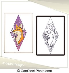 Design Poster in the Frame Fox