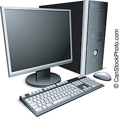 Desktop computer with lcd monitor, keyboard and mouse.