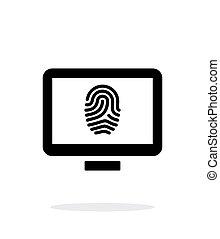 Desktop fingerprint icon on white background.