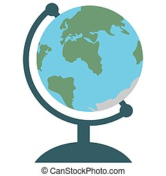 Desktop globe icon, flat design. Colorful sphere with world map of Earth. Isolated on white background. Vector illustration