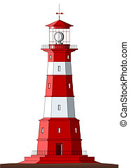 Beautiful detailed lighthouse isolated on white