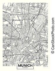 Detailed vector poster city map Munich