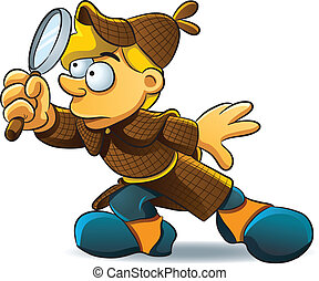 cartoon illustration of young detective investigate a case