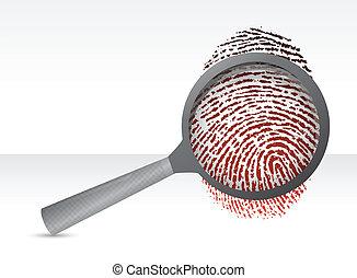 Detectives magnifier with fingerprint illustration design over white