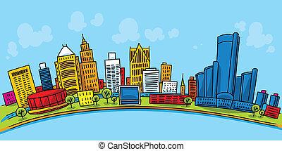 Cartoon skyline of downtown Detroit, Michigan, USA.