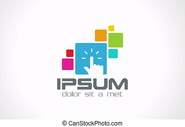 Developer touch interface logo template. Concept for internet & applications. Vector icon. Editable.