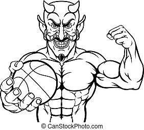 Devil Basketball Sports Mascot Holding Ball
